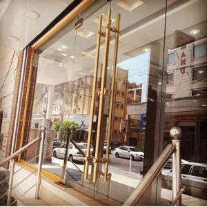 شیشه سکوریت با یراق طلای
