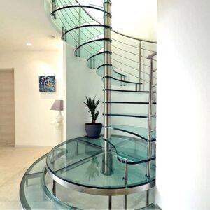 شیشه لمینت پله با یراق استیل